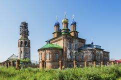 Torre de sino da catedral e da catedral da transfiguração Fotografia de Stock