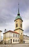 Torre de sino da igreja evangélica em Nowy Sacz poland Fotos de Stock Royalty Free