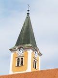 Torre de sino da silhueta em Avila, spain Imagem de Stock