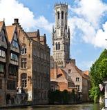 A torre de sino de Bruges fotografia de stock