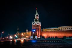Torre de Spasskaya do Kremlin de Moscovo imagens de stock royalty free