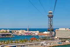 Torre de St. Sebastia Cable Cars Royalty Free Stock Photo