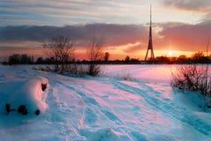 Torre de Televisional da cidade Riga Fotografia de Stock