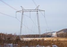 Torre de um cano principal elétrico de alta tensão foto de stock royalty free