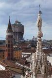 Torre de Velasca de la azotea del Duomo, Milano Fotografía de archivo libre de regalías