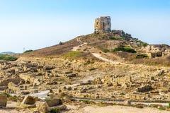 Torre de vigia em Tharros Imagens de Stock