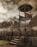 Torre de vigia em um pagamento velho Fotos de Stock Royalty Free