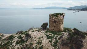 Torre Degli Appiani in Punta Ala. Italy. Torre Degli Appiani on island in Punta Ala. Italy stock video footage