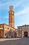 Torre dei Lamberti in Piazza delle Erbe, Verona Royalty Free Stock Photography