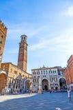 Torre dei Lamberti in Piazza delle Stock Images