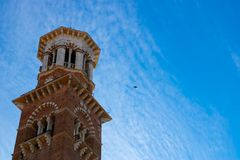 Torre dei Lamberti in Verona with the blue sky background royalty free stock images