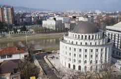 Torre del abastecimiento de agua y vista de Skopje Fotos de archivo libres de regalías