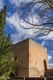 Torre del agua in Alhambra. Torre del agua, water tower in Alhambra palace in Spain stock photo