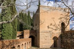 Torre del agua in Alhambra. Torre del agua, water tower in Alhambra palace in Spain stock image