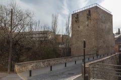 Torre del Alamin en brug van de muur, Guadalajara, Spanje Royalty-vrije Stock Fotografie