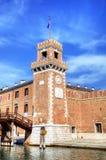 Torre del arsenal de Venecia y del museo naval. Fotos de archivo libres de regalías