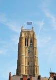 Torre del campanario de una iglesia en Dunkerque Foto de archivo libre de regalías