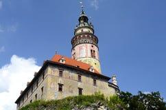 Torre del castello di Cesky Krumlov Immagini Stock Libere da Diritti