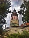 Torre del castello di Krumlov del ½ di ÄŒeskà fotografie stock