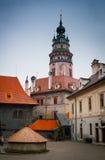 Torre del castillo de Cesky Krumlov Foto de archivo