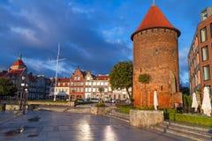 Torre del cisne en la ciudad vieja de Gdansk Fotos de archivo libres de regalías