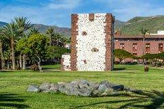 Torre del conde塔在圣塞瓦斯蒂安de戈梅拉岛 库存照片