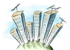 Torre del disegno del fumetto Immagine Stock