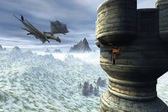 Torre del dragón Stock de ilustración