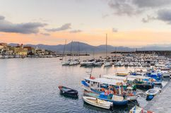 Torre del Greco, Naples, Campania, Italy - scenic view of the sea and boats from the port, on background Sorrento peninsula. Torre del Greco, Naples, Campania Royalty Free Stock Photo