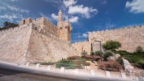 Torre del hyperlapse del timelapse de David Jerusalén, Israel almacen de metraje de vídeo