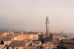 Torre del Mangia在Piazza在薄雾托斯卡纳,意大利的del园地 老极性作用 库存照片