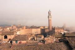 Torre del Mangia在Piazza在薄雾托斯卡纳,意大利的del园地 老极性作用 图库摄影