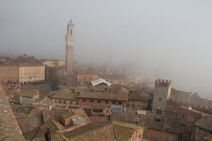 Torre del Mangia在Piazza del园地和锡耶纳tupical ref屋顶薄雾的托斯卡纳,意大利 库存照片