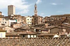 Torre del Mangia en Siena historisch centrum Toscanië, Italië Royalty-vrije Stock Foto