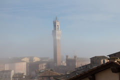 Torre del Mangia in fog. Tuscany. Italy. Stock Photography