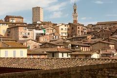 Torre del Mangia in het centrum van Siena Toscanië, Italië Royalty-vrije Stock Fotografie