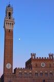 Torre del Mangia och Palazzo Publico - Siena royaltyfria foton