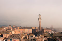 Torre del Mangia in Piazza del Campo in mist Toscanië, Italië Oud polair effect stock foto's