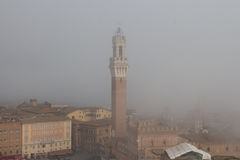 Torre del Mangia in Piazza del Campo and tupical ref roofs of Siena in the thick fog. Tuscany, Italy. Royalty Free Stock Image