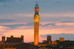 Torre del Mangia at sunset in Siena. Tuscany. Italy. stock images