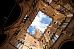 Torre del Mangia from the yard Stock Photos