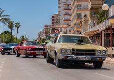 TORRE DEL MAR, SPAIN - JUNE 3, 2018 Vintage cars displayed on ol
