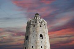 Torre del Oro ή χρυσός πύργος (13ος αιώνας), Σεβίλη, Ανδαλουσία, νότια Ισπανία Στοκ Φωτογραφίες