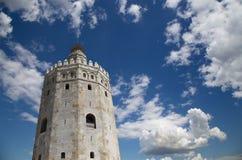 Torre del Oro ή χρυσός πύργος (13ος αιώνας), Σεβίλη, Ανδαλουσία, νότια Ισπανία Στοκ Φωτογραφία