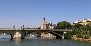 Torre del Oro ή χρυσός πύργος (13ος αιώνας), Σεβίλη, Ανδαλουσία, νότια Ισπανία Στοκ φωτογραφίες με δικαίωμα ελεύθερης χρήσης