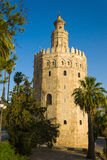 Torre del Oro. The Torre del Oro (English: Gold Tower) is a dodecagonal military watchtower in Seville, southern Spain, built by the Almohad dynasty in order to Stock Photography