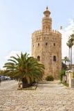 Torre del Oro, ancient lighthouse at Sevilla. The ancient lighthouse Torre del oro at the banks of Guadalquivir river, Sevilla, Spain stock photo