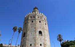 Torre del Oro eller guld- torn (det 13th århundradet), Seville, Andalusia, sydliga Spanien Arkivbilder