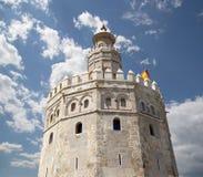 Torre del Oro eller guld- torn (det 13th århundradet), Seville, Andalusia, sydliga Spanien Royaltyfria Bilder