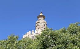 Torre del Oro eller guld- torn (det 13th århundradet), Seville, Andalusia, sydliga Spanien Royaltyfri Fotografi